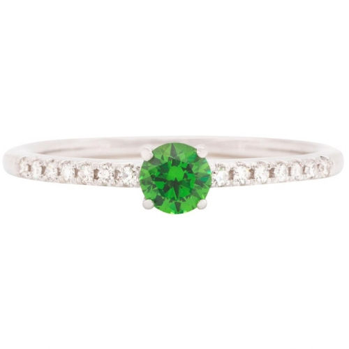 0.31 ct Demantoid White Gold Ring with Diamonds