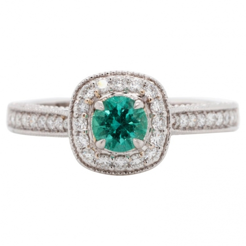 0.42 ct Emerald Gold Ring with Diamonds