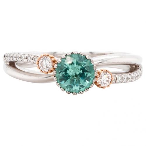 0.57 кт Золотое кольцо с изумрудом и бриллиантами