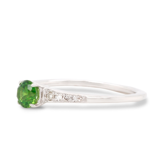 0.34 ct Demantoid White Gold Ring with Diamonds