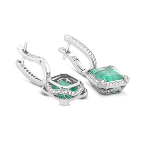 Russian Emerald White Gold Earrings with Diamonds