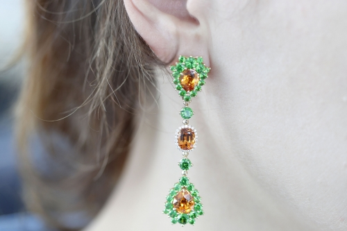 Dangle Earrings with Spessartite Demantoids and Diamonds
