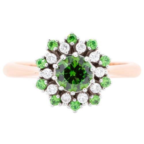 0.66 ct Demantoid Gold Ring with Diamonds