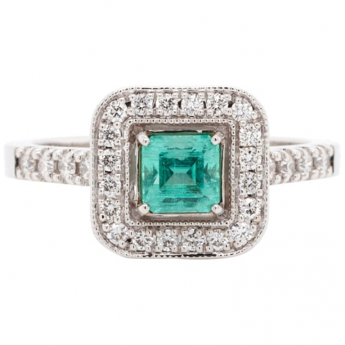 0.48 ct Emerald Gold Ring with Diamonds