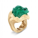 Carved Emerald Gold Ring