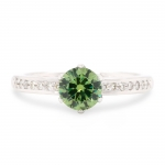 0.86 ct Demantoid White Gold Ring with Diamonds