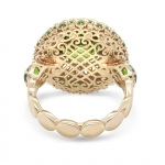 Gold Ring with Demantoids and Colorless Diamonds